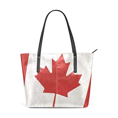 COOSUN Bolso de hombro de piel sintética con bandera de Canadá para mujer