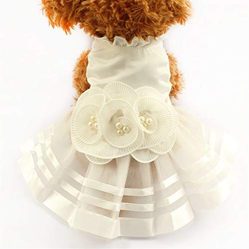 Kevinliu Perlen-Blumen-Verzierungshundekleid Brautkleider for Hundekleid Hochzeit Kleid Hemden, Weiss (Farbe : White, Size : XS)