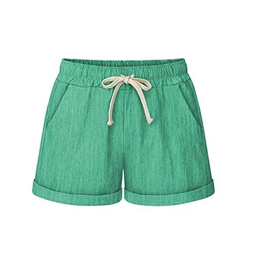 Pantalones Cortos Mujer de Color Liso con Bolsillos Shorts Casual con Cordón Ajustables Pantalón Cortos Suelta Verano Pantalón Cortos Informal Cita,Fiesta,Playa