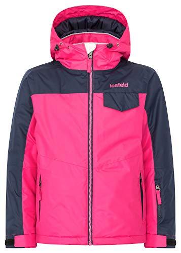 icefeld Kinder Winterjacke/Skijacke mit Kapuze, pink in Größe 140