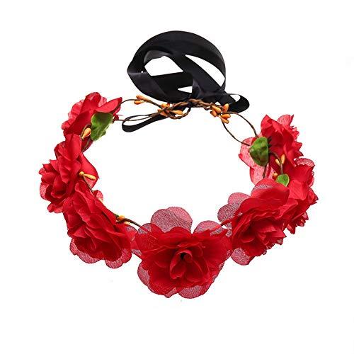 YAZILIND Halloween Party Kopfschmuck Mode Tricolor Tuch Blume Kleinen Kranz Haarschmuck Rot