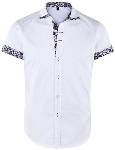 JEETOO Chemise à manches courtes pour homme Imprimé floral Chemise boutonnée Summer Casual - Blanc - Large