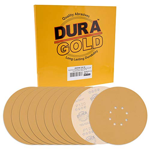 "Dura-Gold Premium 9"" Drywall Sanding Discs - 120 Grit (Box of 10) - 8 Hole Pattern Sandpaper Discs with Hook & Loop Backing, Fast Cutting Aluminum Oxide Abrasive - For Drywall Power Sander, Sand Wood"