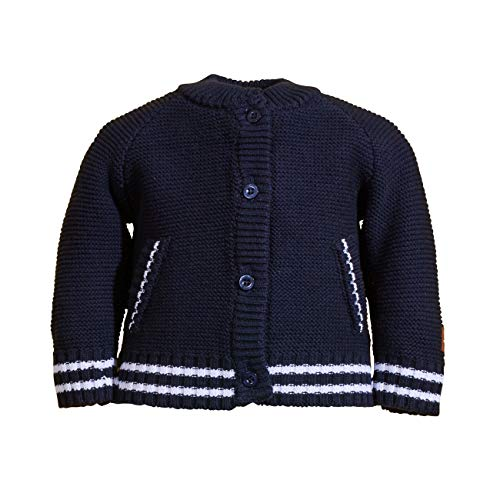 Salt And Pepper Knit Jacket Uni Stick Print Maglione Cardigan, Blu Navy, 12 Mesi Bimbo