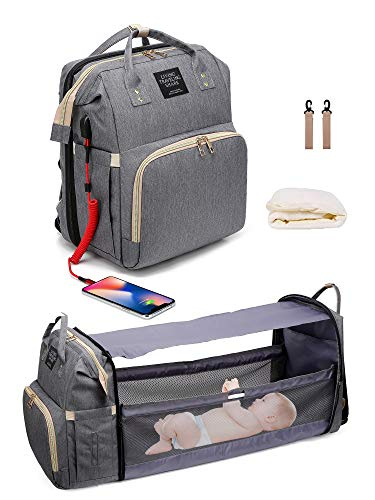 3 in 1 Diaper Bag Backpack with Folding Crib,Portable Sleeping Mommy Bag Include Insulated Pocket, Diaper Bag Backpack Changing Station,Waterproof, USB Charging Port, Baby Bag Portable Crib (Gray)