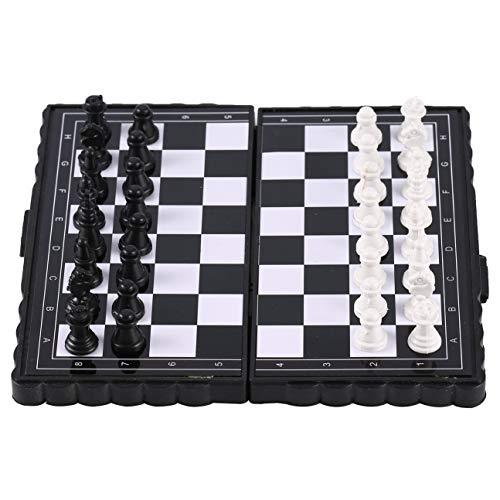 MachinYeser Entretenimiento plstico Plegable porttil de ajedrez de ajedrez de Bolsillo magntico para Fiesta Negro + Blanco