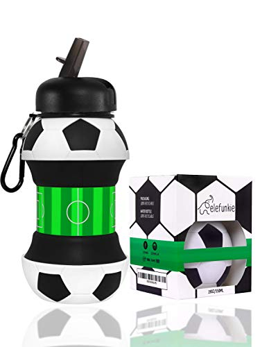 Kids Water Bottle by elefunkie – Football Gifts for Boys – Unique Water Bottle for Kids, Collapsible - Childrens Water Bottle, BPA Free - Boys Water Bottle 500ml, Free eBook Name Tag…