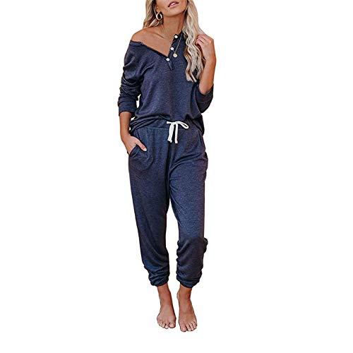 2 szt. damski dres domowy zestaw z długim rękawem okrągły sweter topy długie spodnie spodnie dresowe dla pań duży rozmiar odzież sportowa jogging odzież sportowa top i spodnie do biegania zestaw S-XXL, Niebieski-2, XL