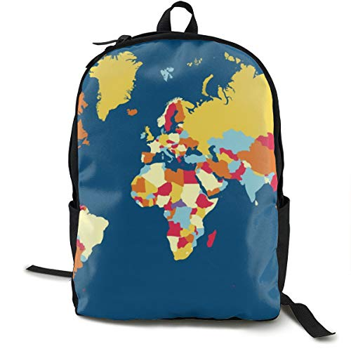 Casual Backpck Big Capacity Anti-Theft Multipurpose Carry-On Bag Backpack for Gym Picnic Walking Cycling - Ocean Island World Map Art, Traveling & Camping Backpack