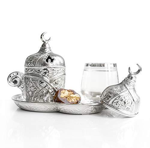 Set di 1 piattino in porcellana di alta qualità e ottone argentato, stile turco, arabo, greco, autentico espresso, set da 1