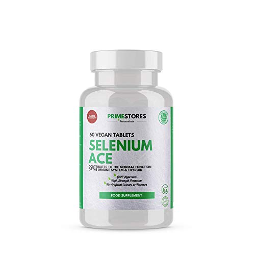 Selenium Ace Thyroid Zinc Supplement - 60 Vegan Tablets - High Strength Halal Vegetarian Iodine Immune Support Supplements by Primestores