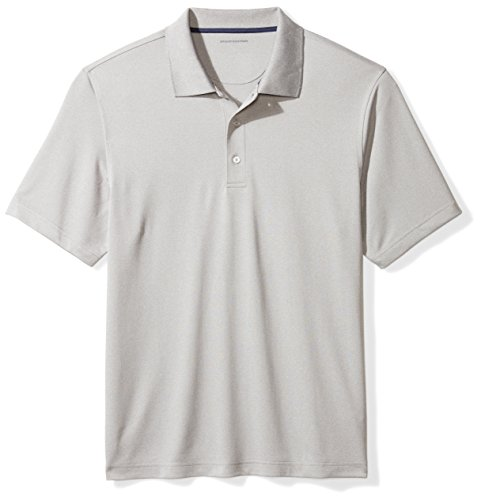 Amazon Essentials Men's Regular-Fit Quick-Dry Golf Polo Shirt, light grey heather, Small