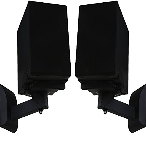 WALI Dual Side Clamping Bookshelf Speaker Wall Mounting Bracket for Large Surrounding Sound...