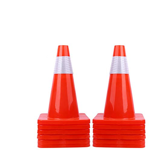 """12 Pack 18"""" Traffic Cones Safety Road Parking Cones Weighted Hazard PVC Cones Construction Cones for Traffic Fluorescent Orange with w/4"""" Reflective Strips Collar Plastic Traffic Cones (12)"""