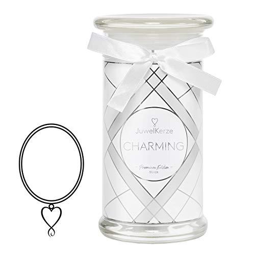 JuwelKerze Schmuckkerze 'Charming' große weiß Duftkerze mit echtem 925er Sterlingsilber Schmuck (Kette) - Kerze mit Schmucküberraschung als Geschenk für sie