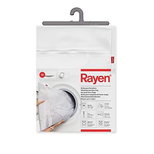 Rayen Lavadora y Secadora lavandería | Funda para Colada con Cremallera | Bolsa Protectora Reutilizable para el Lavado de Ropa | Talla M | 50 x 70 cm | 1 unidad, Blanco