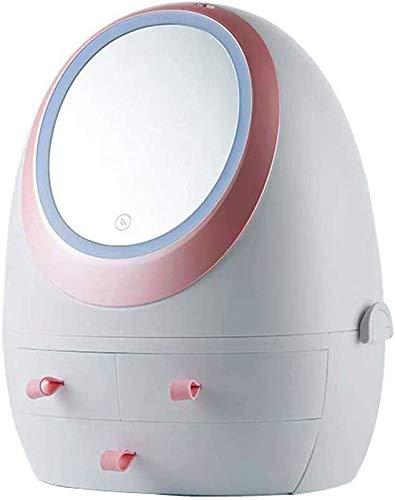 Multifunctional Caja Organizador de maquillaje, caja de almacenamiento de uñas cosmética, soporte de almacenamiento cosmético portátil profesional, rotativo de 360 grados LED luz de vanidad, carga U