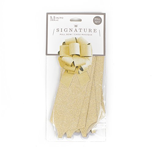 Hallmark Signature 5' Gift Bow (Gold Glitter) DIY Pull Bow for Christmas, Hanukkah, Holidays, Weddings, Anniversaries, Birthdays and More