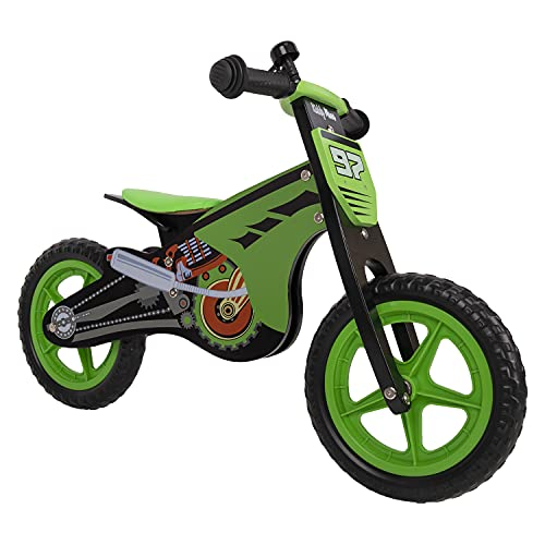 KiddyMoon Bicicleta De Equilibrio Madera Sin Pedales para Niños BK-001 Motocicleta, Negro-Verde
