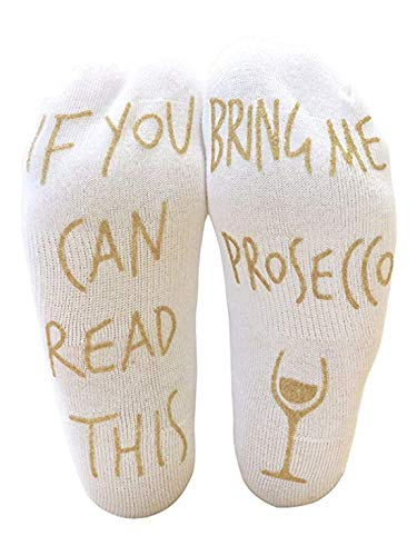 "Lomire Witzige Socken mit Spruch ""If You Can Read This, Bring Me Prosecco.� 