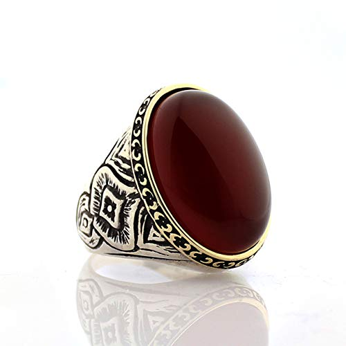 QHKS Turkish Style Real 925 Sterling Silver Natural Agate Onyx Stone Ring For Men Jewelry Fashion Vintage Gift Accessory (Gem Color : Maroon, Ring Size : 13.5)