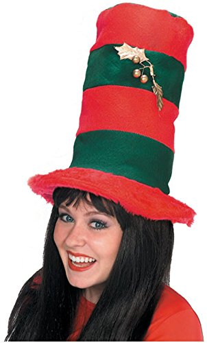 Rubie's Costume Co Striped Xmas Top Hat Costume, Red/Green, Red/Green