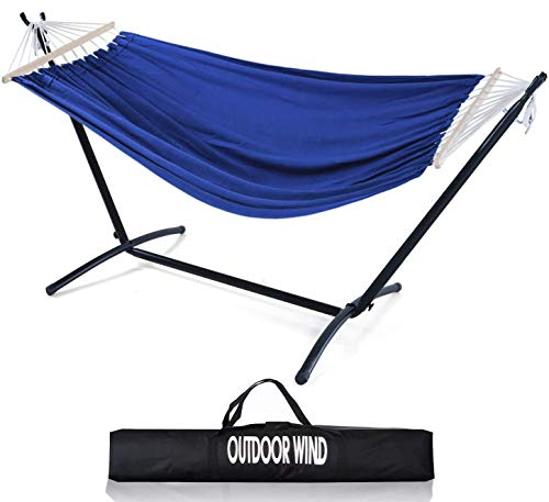 OUTDOOR WIND 550lbs Capacity Double Hammock Adjustable Hammock Bed with Heavy Duty Steel Stand and Spreader Bars Includes Portable Carrying Case, Easy Set up