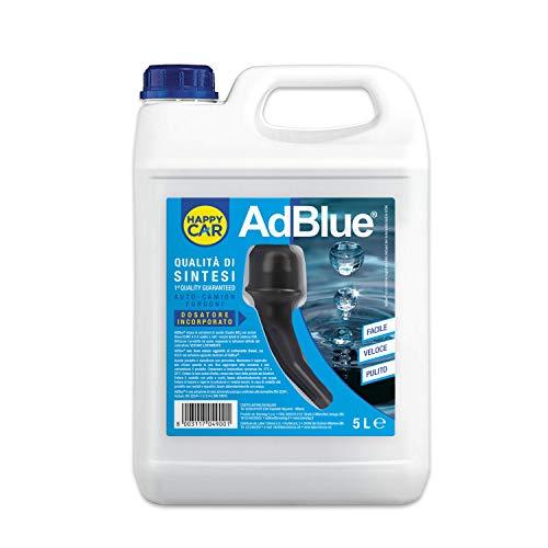 Happy Car - Adblue 5lt, qualità di Sintesi, Additivo Diesel Gas di Scarico, con Tubo di Riempimento, Conforme ISO 22241, Made in Italy