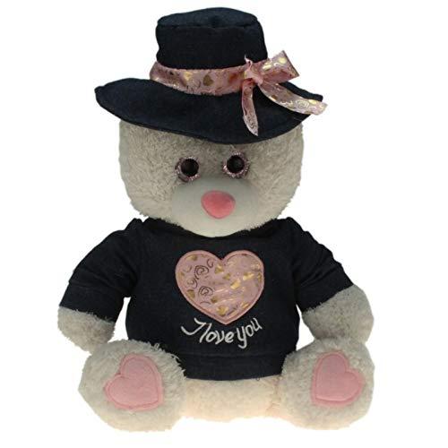 13653 Plüsch Bär mit Jeans-Hut und Jeans-Shirt, Kuscheltier, Spieltier, Teddybär, Stofftier zum kuscheln und Spielen, mit Glitzeraugen, ca. 30 cm