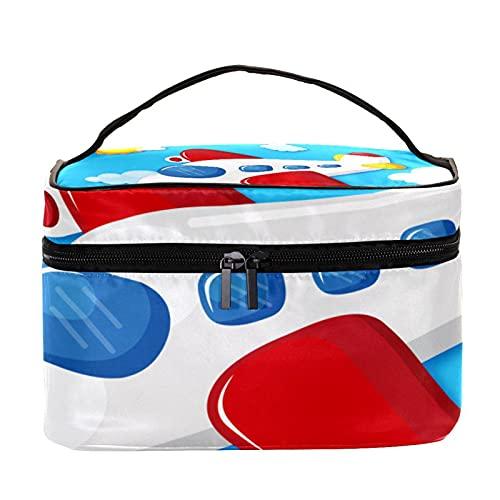 Bolsa de maquillaje, bolsa de viaje para cosméticos, bolsa de cepillo, bolsa de aseo portátil, bolsa de maquillaje de viaje, avión volador, azul