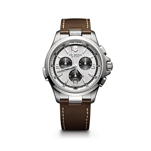 Victorinox Men's Night Vision Titanium Swiss-Quartz Watch with Leather Strap, Brown, 21 (Model: 241729)