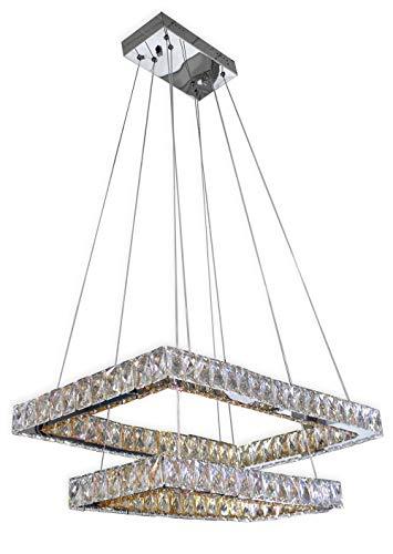 Vetrineinrete® Lampadario da soffitto a led a sospensione di forma rettangolare 33 watt plafoniera luce bianca 6500k con cristalli in acrilico pendenti lampada sospesa argento