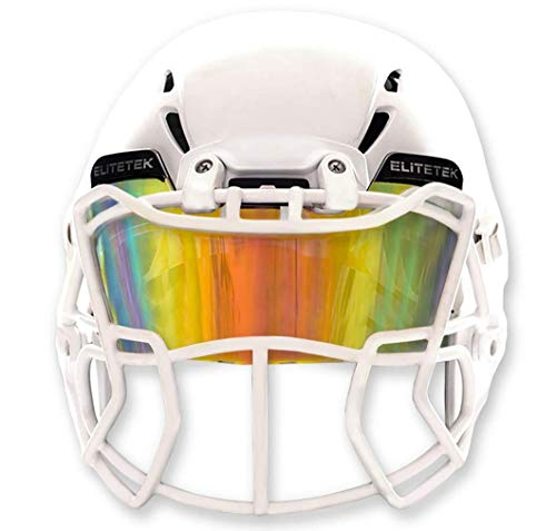 EliteTek Blue Football Visors for Helmet Tinted - Fits Kids/Youth & Adult - Eye Protection Prevent Eye Pokes (Clear Orange Colored)