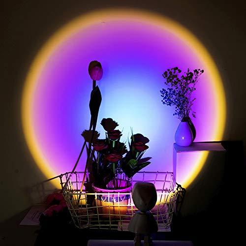 miuline Lámpara de Proyección Sunset Sunset Lamp Luces del Atardecer Rotación de 360 Grados Sunset Projection Lamp USB Lámpara Puesta De Sol Arcoíris (Arcoiris)