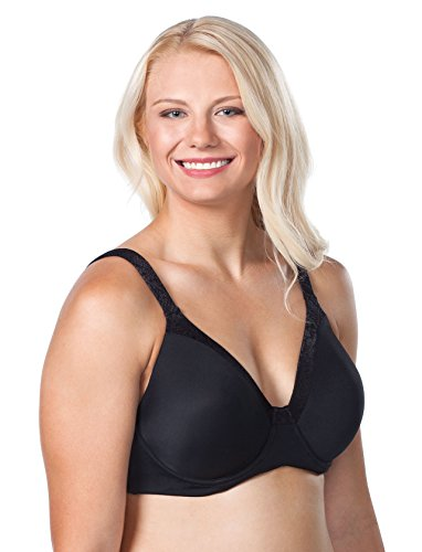 LEADING LADY Women's Plus-Size Plus Size Luxe Body T-Shirt Bra with Underwire Support Bra, Black, 36D