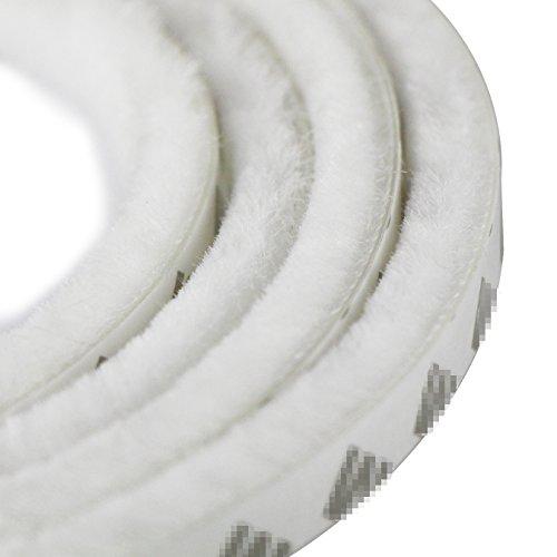 UOOOM 5m winddicht Staubdicht Tür Fenster Dichtungsband selbstklebend Bürstenleiste 9x 15 mm - für Lücken 7,5-13 mm (5 Meter, Weiß)