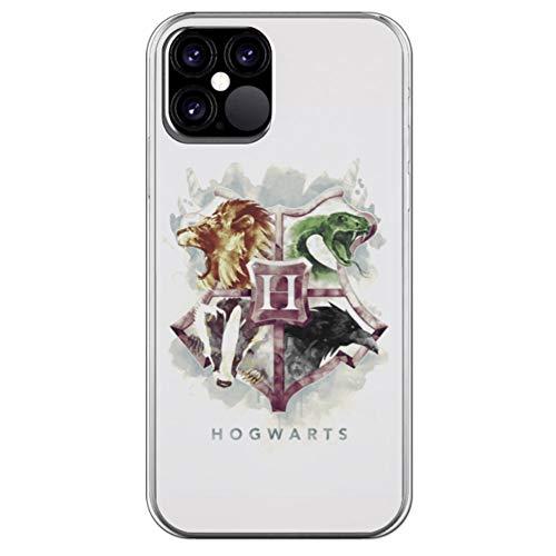 Movilshop Funda para [ iPhone 12 ] Harry Potter Oficial [Hogwarts Acuarella] de Silicona Flexible Transparente Carcasa Case Cover Gel para Smartphone.