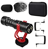 Tikysky Camera Microphone M-3,External Video Microphone for Phone iPhone Camera with Shock Mount Windproof Windscreen,DSLR Mic for Canon Nikon Sony Panasonic Fuji Interview