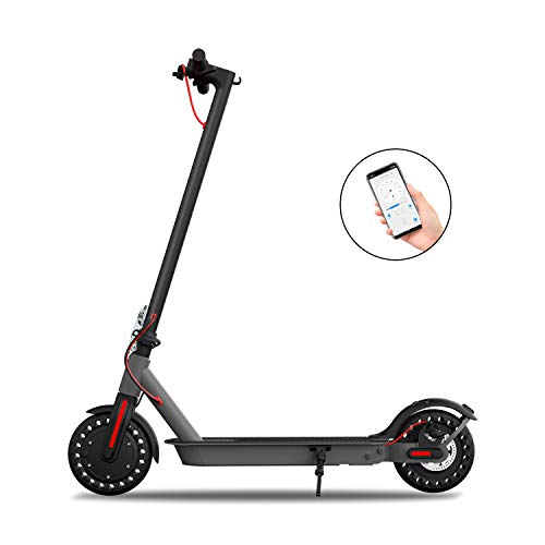 "Hiboy S2 Electric Scooter - 8.5"" Solid Tires - Up to 17 Miles Long-Range & 18 MPH Portable Folding Commuting Scooter for Adults with Double Braking System and App (Black&Space Grey)"