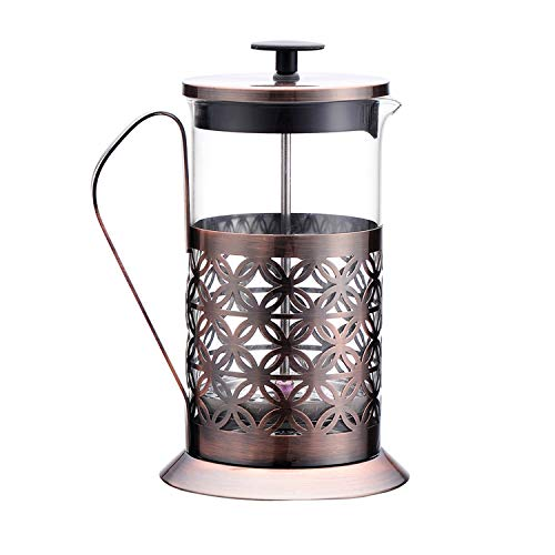 Upscale 600 ml Tea and Coffee French Press Brewer Pot and Plunger, 4 Part Filtration, with Stainless Steel case and Handle and Borosilicate Glass Body, Perfect for Tea, Coffee, Expresso - Gold