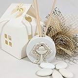 Diffusore d'ambiente bomboniere comunione albero della vita made in italy (diffusore+bacchette+scatola+sacchetto +confetti)