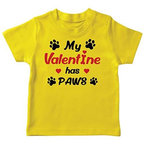 lepni.me Camiseta para Nios Mi Valentn iene Patas Regalo para los Amantes Adictos a Las Mascotas en el Da de San Valentn (14-15 Years Amarillo Multicolor)