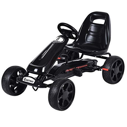 COSTWAY Go Kart Kids Ride On Car Pedal Powered Car 4 Wheel Racer Stealth, Black