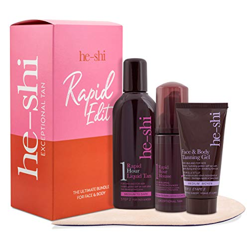 He-Shi Self Tan Set - 4 Piece Tanning Starter Set Includes: 1 Hour Liquid Tan, Face & Body Gel, Rapid Tanning Mousse and Mitt - Beauty Set For Her - 100% Vegan + Cruelty Free
