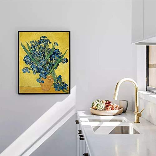 wZUN Pittore Post-impressionista Olandese Van Gogh Iris Poster e Stampe murali su Tela 50x60cm