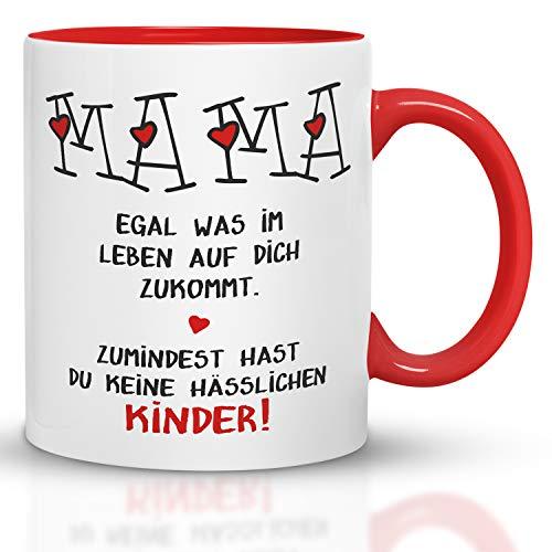 Kaffeebecher24 - Geschenk Muttertag - Tasse Mama hässliche Kinder - Spülmaschinenfest - Geschenke für Mama - Tasse lustig - Mutertagsgeschenk Tasse - rot
