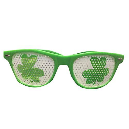 Patrick - Gafas verdes de día transwen, moda divertida, trébol verde, sombrero irlandés, para adultos, festival o disfraz, accesorio para disfraz