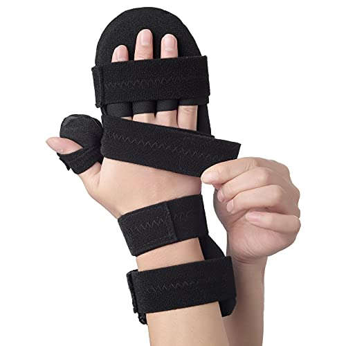 Stroke Resting Hand Splint by Sylong - Carpal Tunnel Wrist Brace Night Immobilizer, Finger Stabilizer Wrap - for Muscle Atrophy Rehabilitation, Arthritis, Tendonitis, Carpal Tunnel Pain