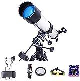 MWKL Telescopio astronómico Profesional para Principiantes de 90 mm, Refractor astronómico para niños, telescopio de Viaje para Adultos con trípode de Acero Ligero con