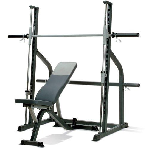 Banco de peso olímpico Marcy SM600 - Máquina ejercicios Smith - Banco ajustable - Color gris